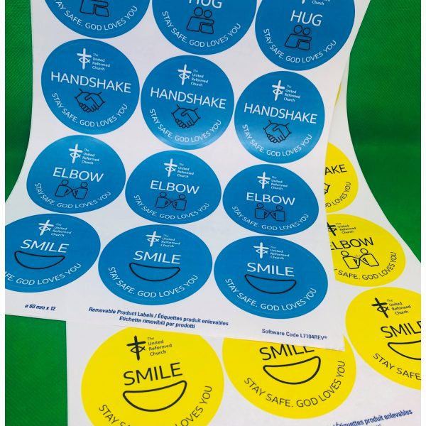 Round yellow and blue stickers